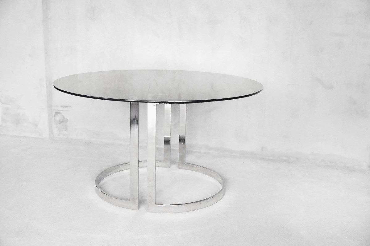 Gro er runder esstisch aus glas von milo baughman 1970er for Runder esstisch glas
