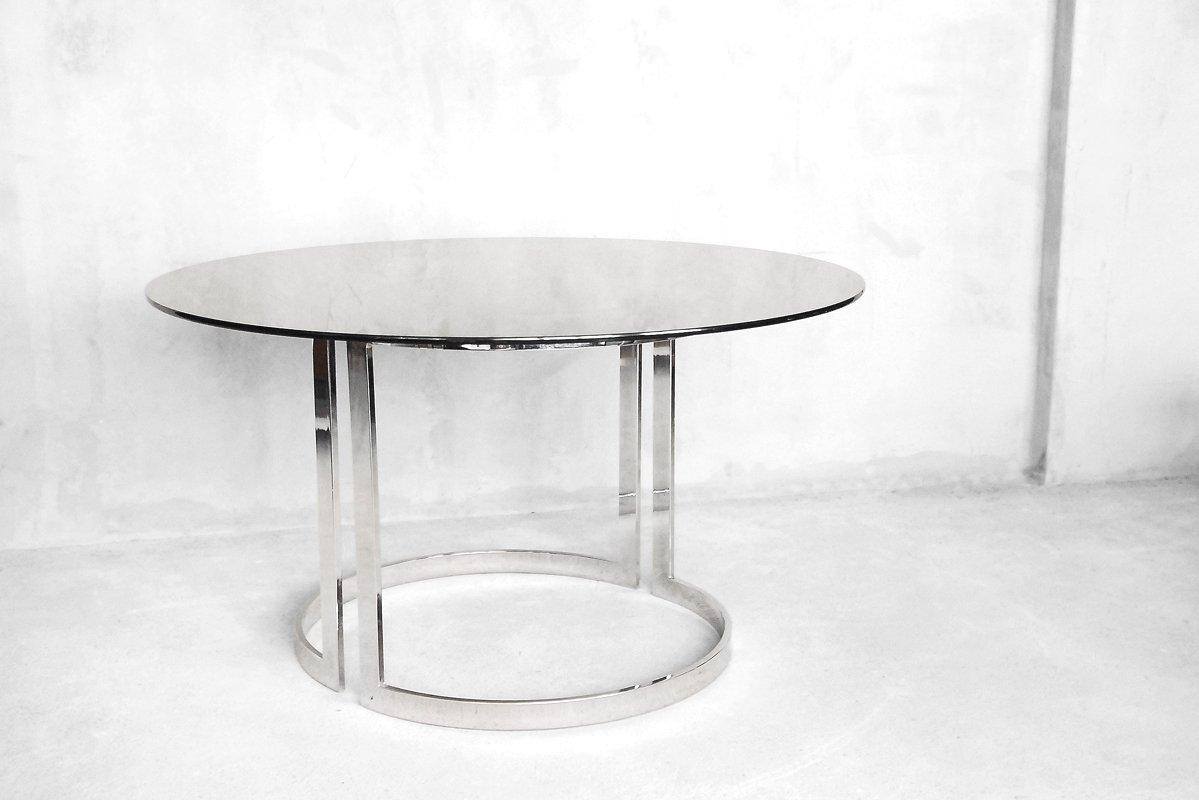 gro er runder esstisch aus glas von milo baughman 1970er bei pamono kaufen. Black Bedroom Furniture Sets. Home Design Ideas