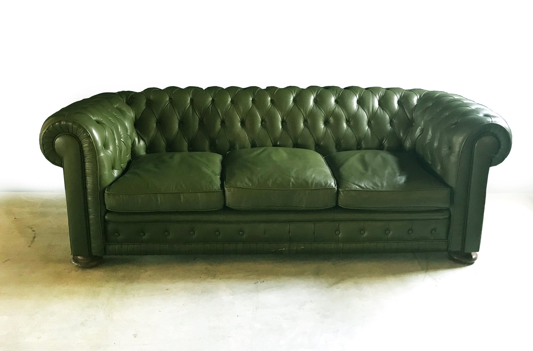 Green Leather Chesterfield Sofa 1970s