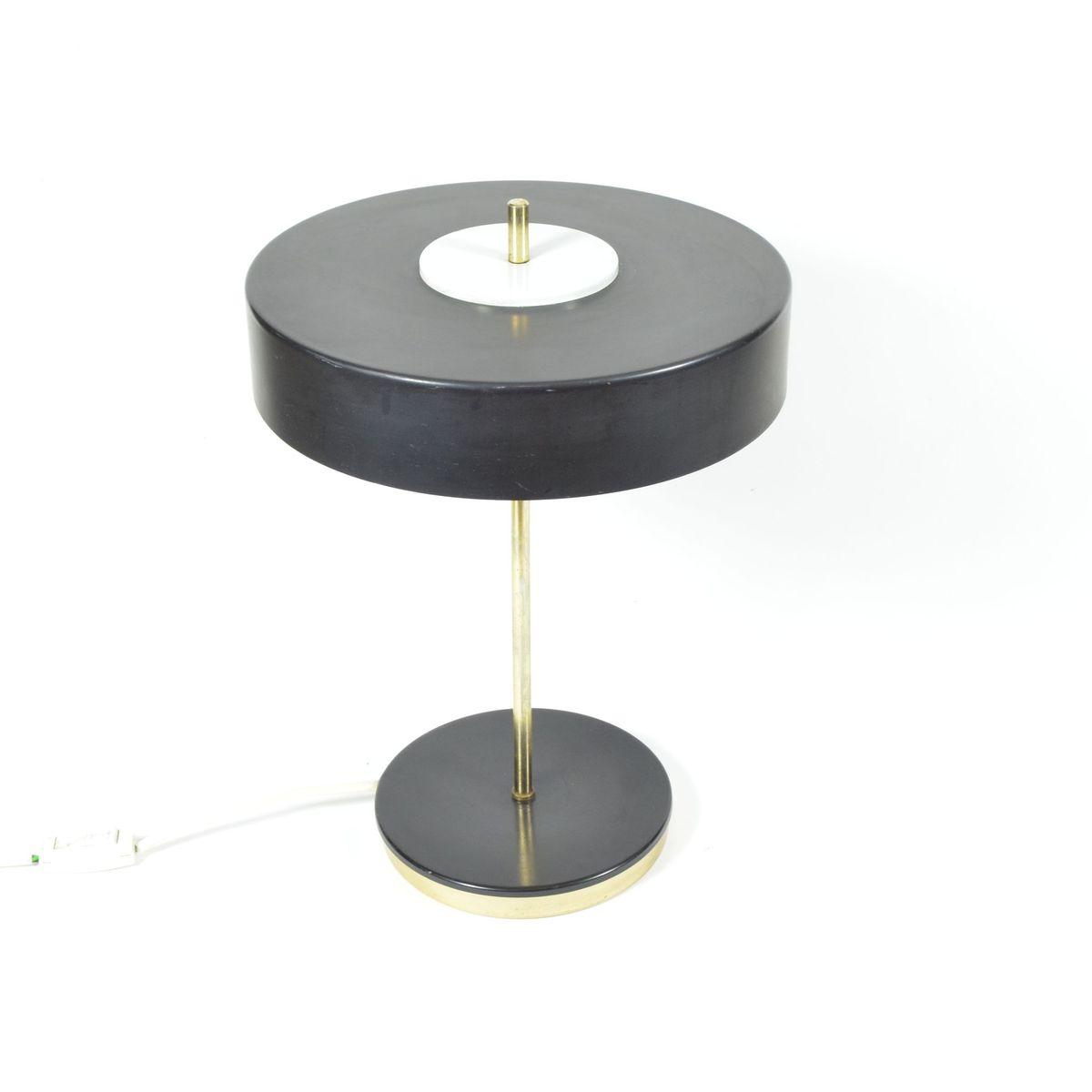 Tischlampe aus schwarzem Metall & Messing von Kamenický Šenov, 1970er