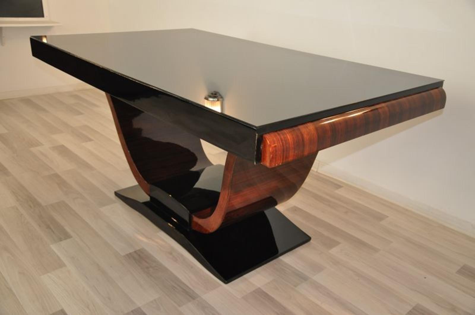 Tavolo Pranzo Art Deco tavolo da pranzo art deco vintage con piede in macassar, anni '30