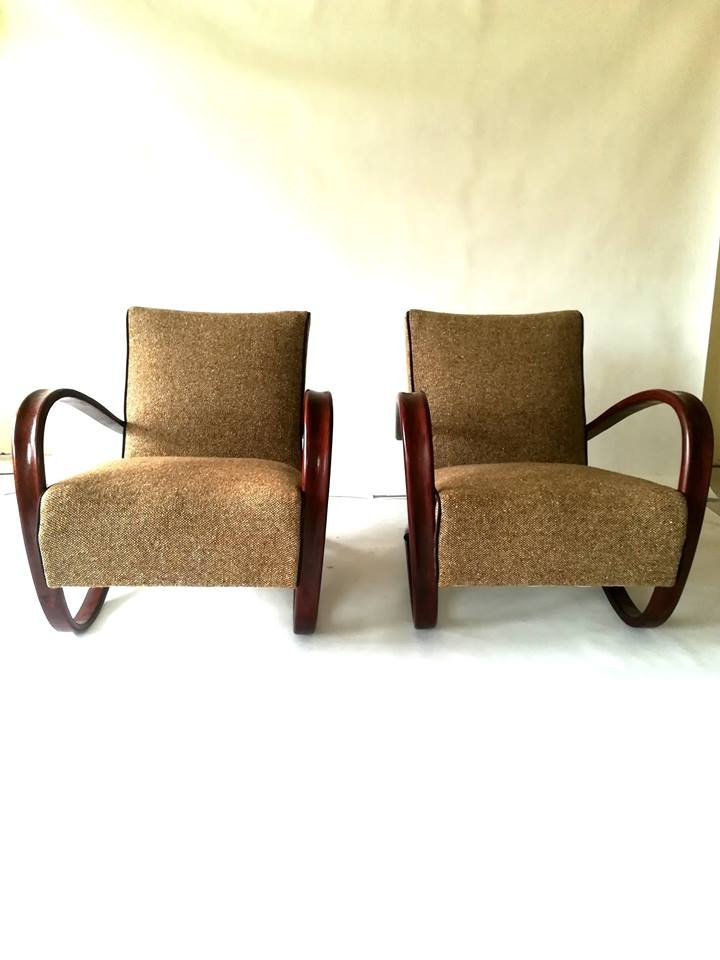 Vintage H269 Sessel von Jind?ich Halabala für Thonet, 2er Set