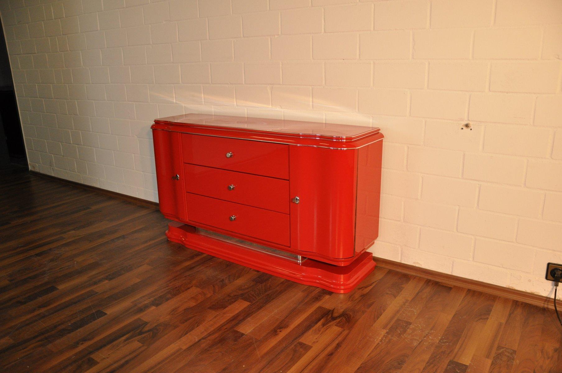 Rotes Art Deco Lowboard, 1930er