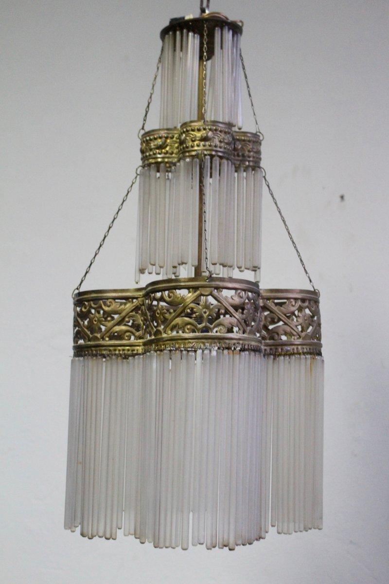 Dreistufige antike Hängelampe aus Messing & Glas