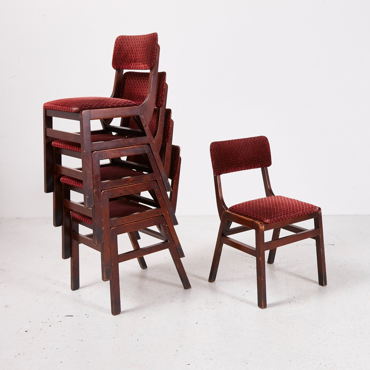 vintage red velvet stackable chair 1970s for sale at pamono. Black Bedroom Furniture Sets. Home Design Ideas