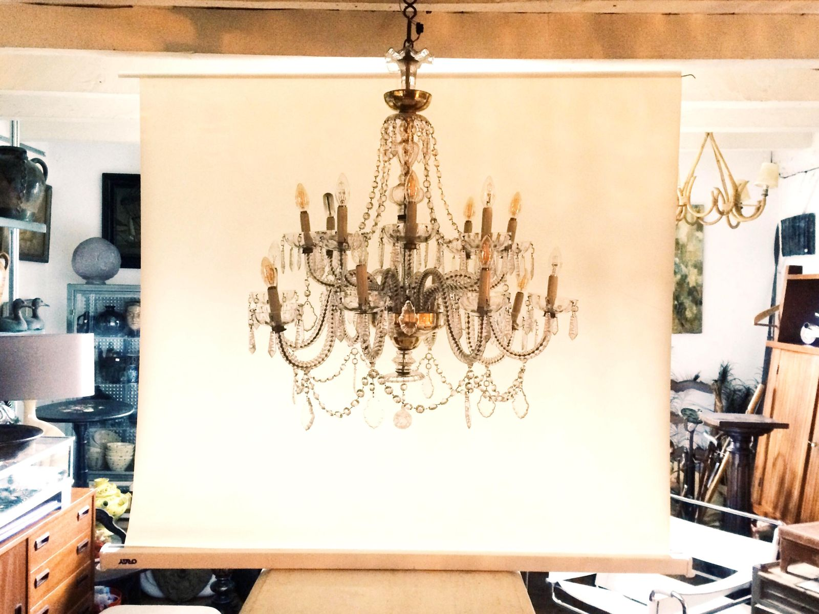 Vintage murano crystal chandelier for sale at pamono vintage murano crystal chandelier aloadofball Gallery