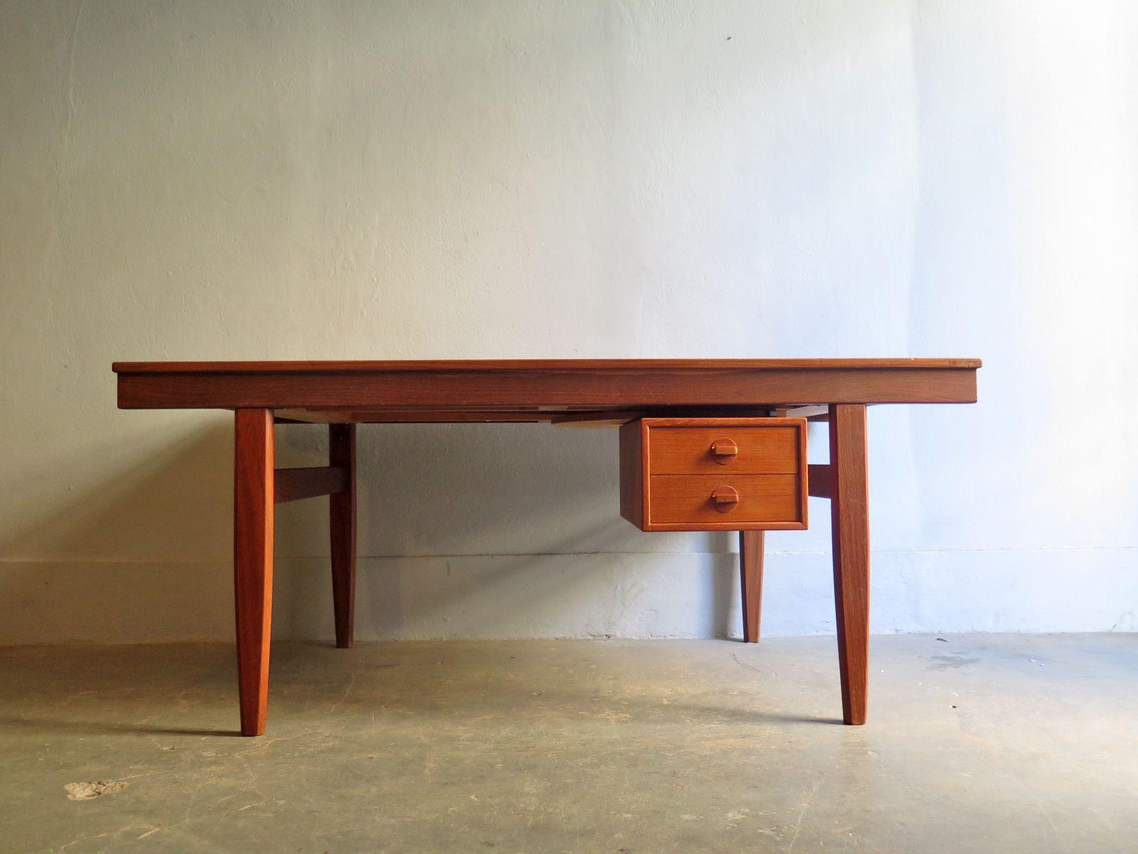 Vintage Teak Schreibtisch Mit Drehbaren Schubladen Und 2