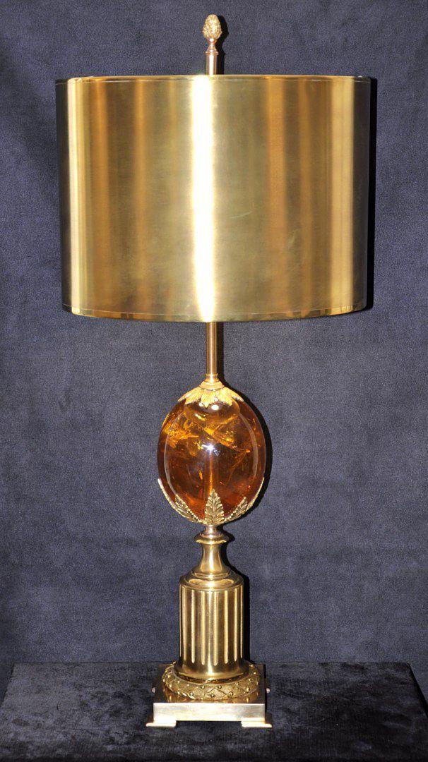 Lampe aus Bronze & Harz von Maison Charles, 1970er