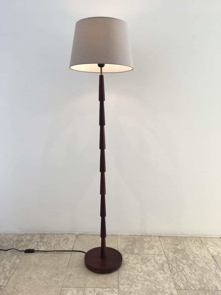 Mid Century Danish Wooden Floor Lamp 1960s