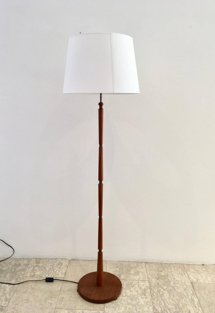 Danish Mid Century Teak Floor Lamp With Br Details
