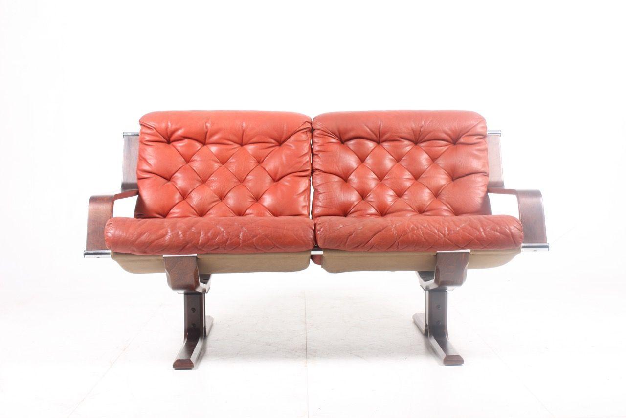 Mid Century Red Leather Sofa