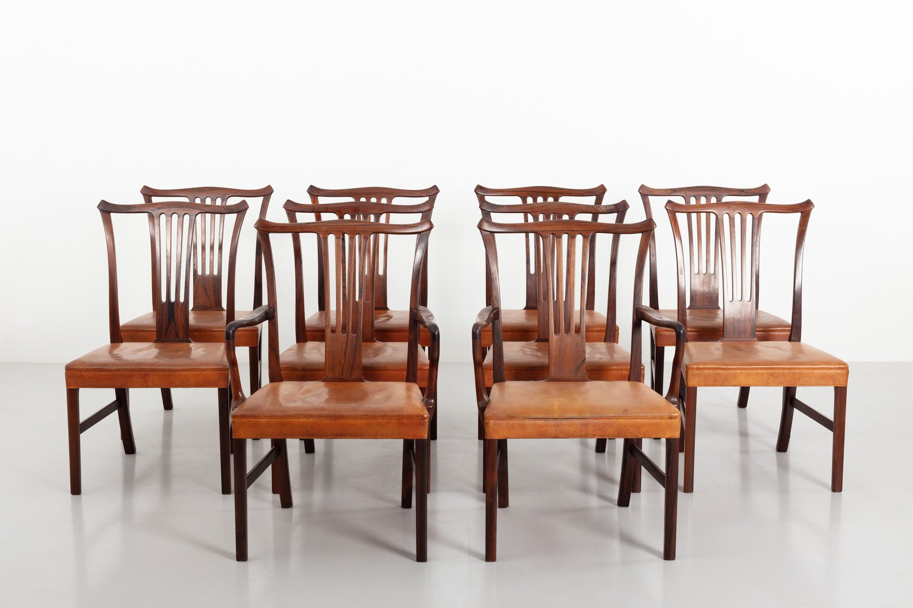Vintage Dining Chairs By Helge Vestergaard Jensen For Peder Pedersen 1940s Set Of 10