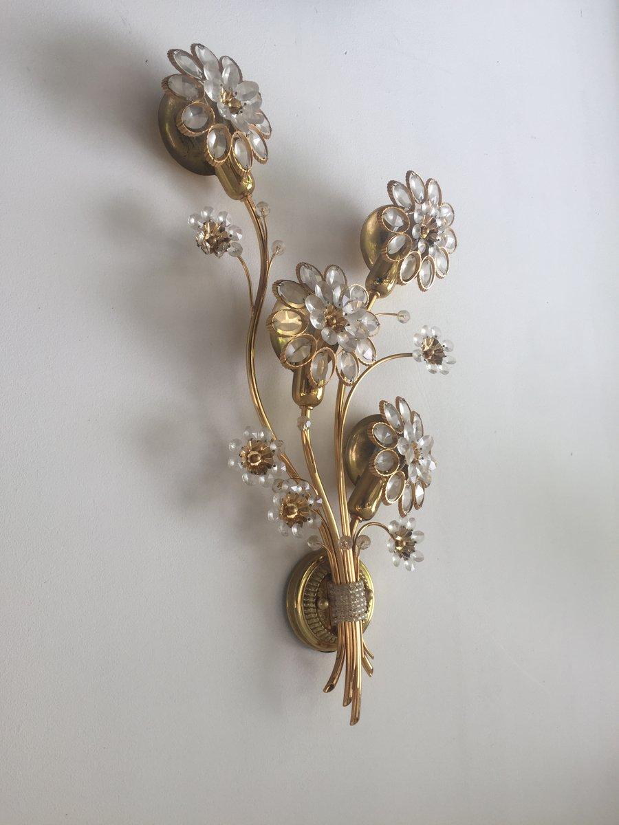 applique murale fleur en m tal couleur or et perles en. Black Bedroom Furniture Sets. Home Design Ideas