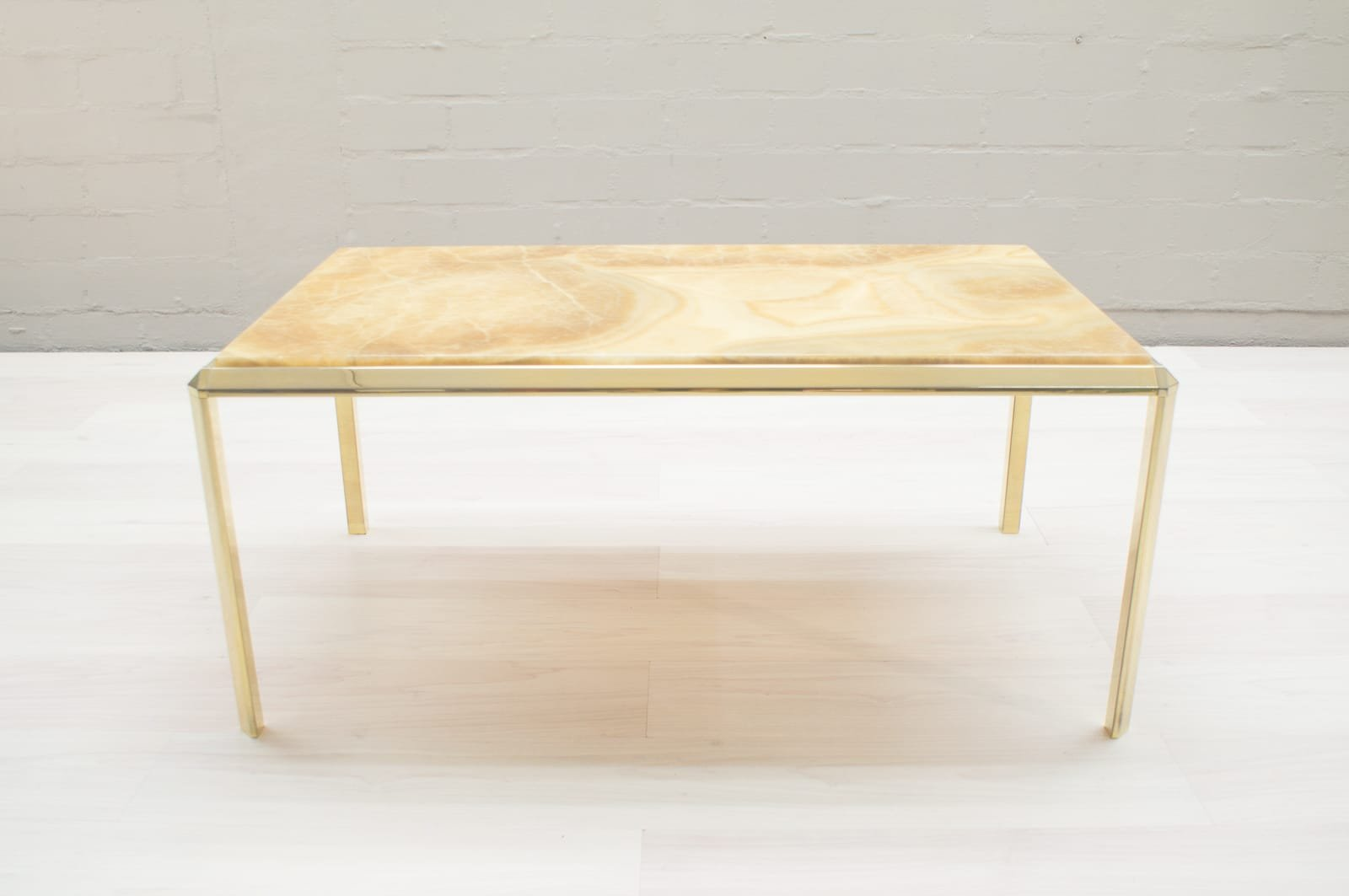 Italian coffee table with yellow marble top 1960s
