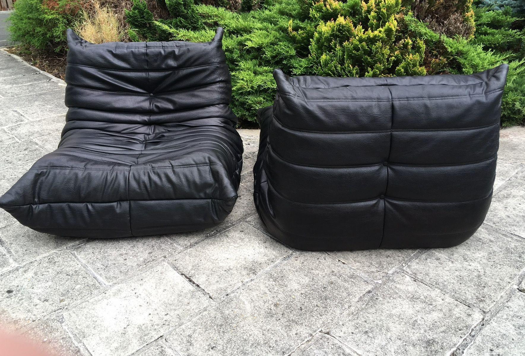 schwarze vintage togo sessel von michel ducaroy f r ligne roset 2er set bei pamono kaufen. Black Bedroom Furniture Sets. Home Design Ideas