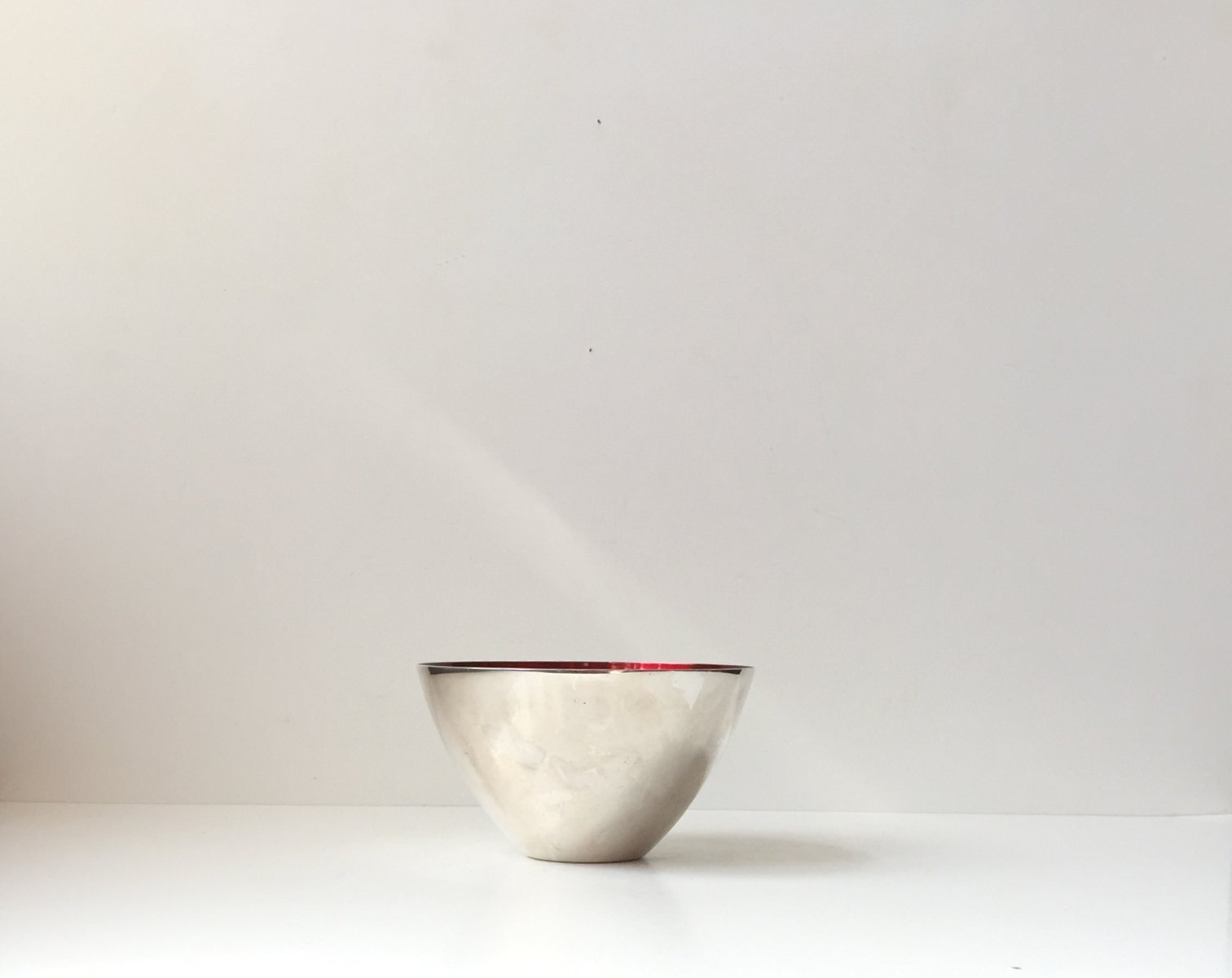 Modernist Conical Bowl In Silver Plate Enamel By Dgs 1950s For Sale At Pamono