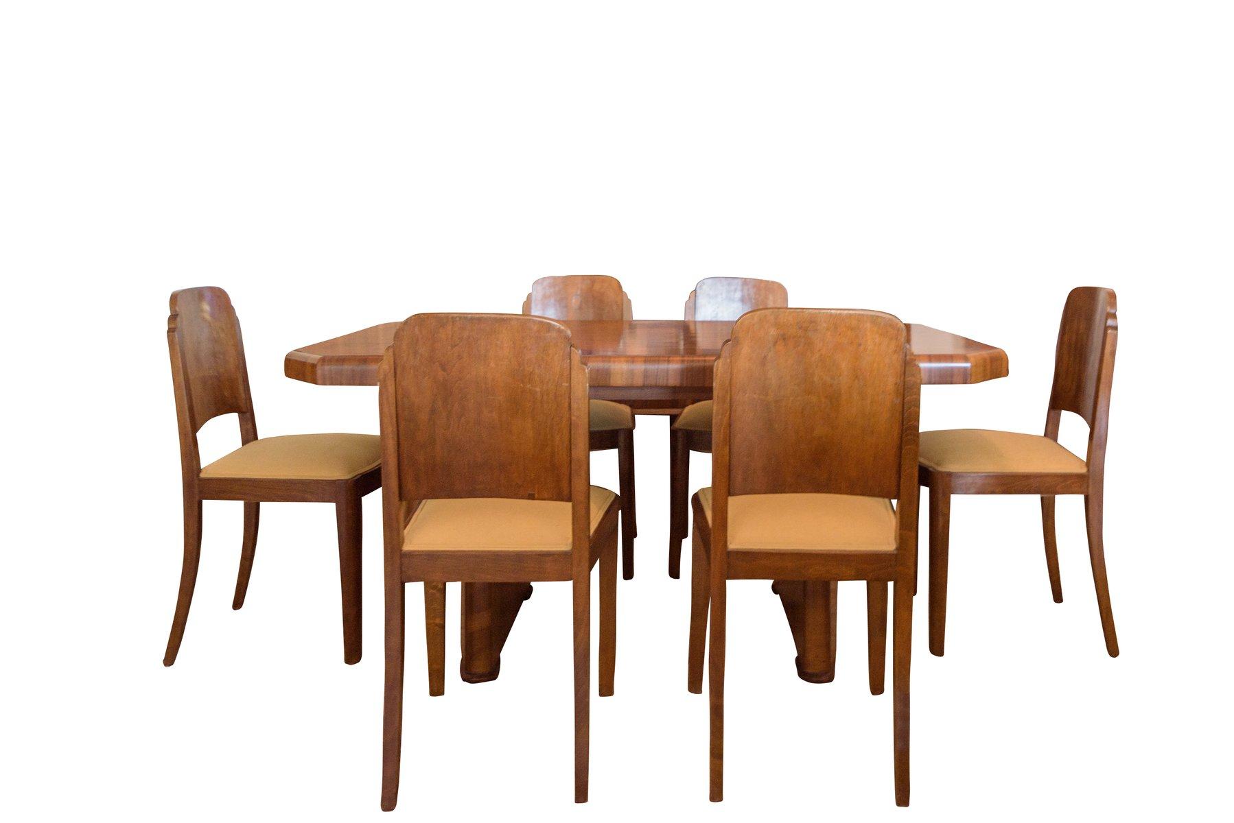Art Deco Walnut Dining Table u0026 6 Chairs 1920s  sc 1 st  Pamono & Art Deco Walnut Dining Table u0026 6 Chairs 1920s for sale at Pamono