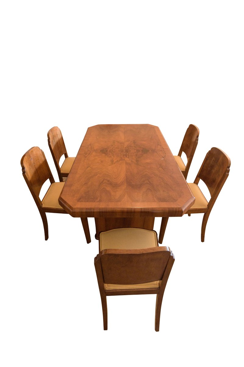 Art Deco Walnut Dining Table 6 Chairs 1920s For Sale At Pamono