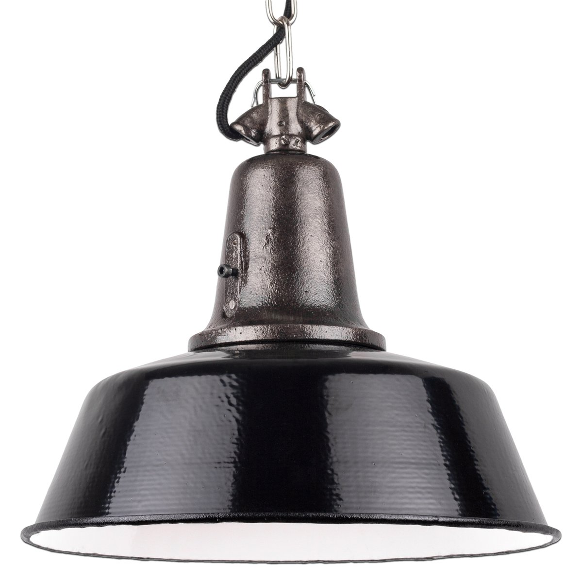 Industrielle Vintage Hängeleuchte in schwarzem Gusseisen