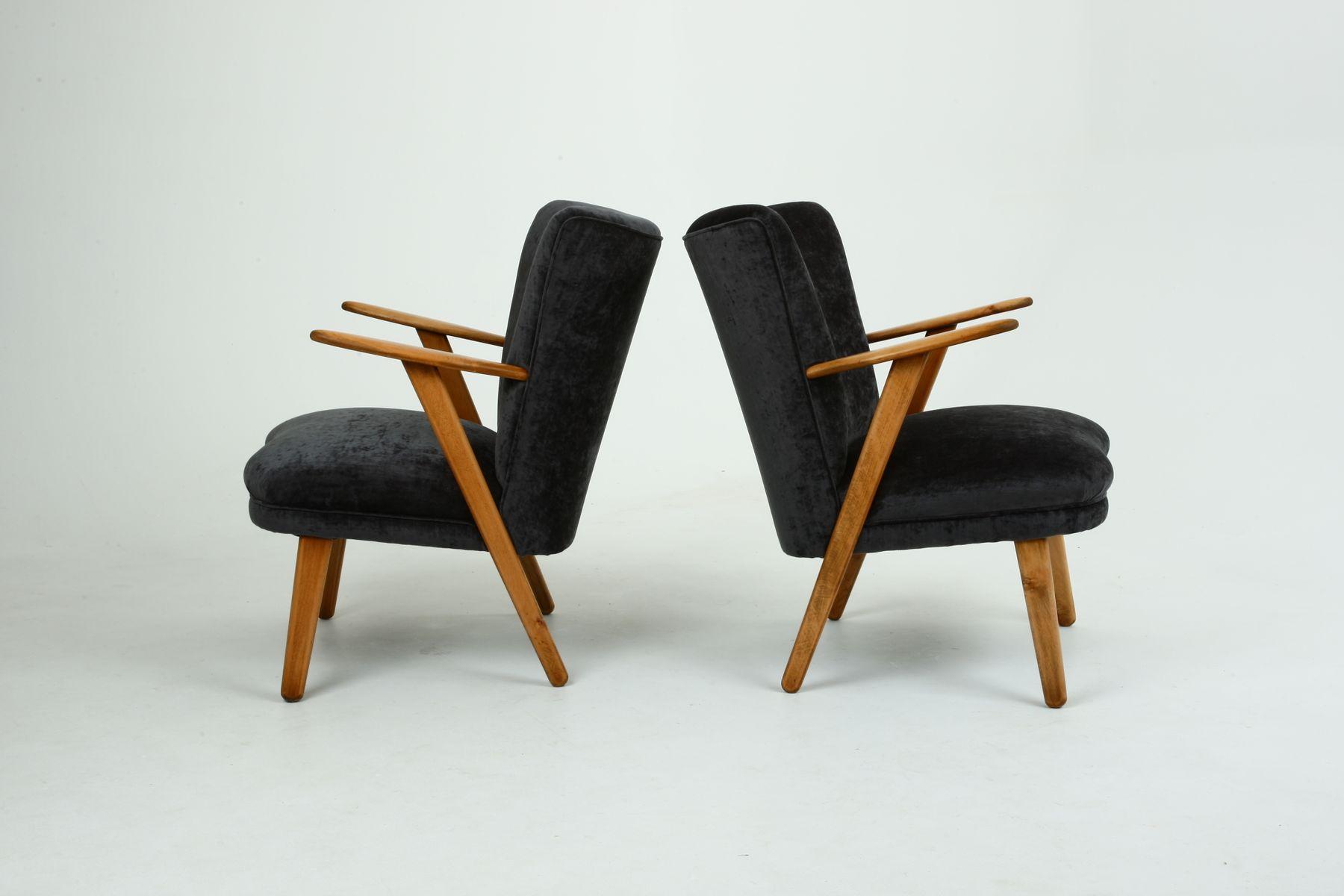 Dänische graue Samt & Buchenholz Sessel, 1950er, 2er Set
