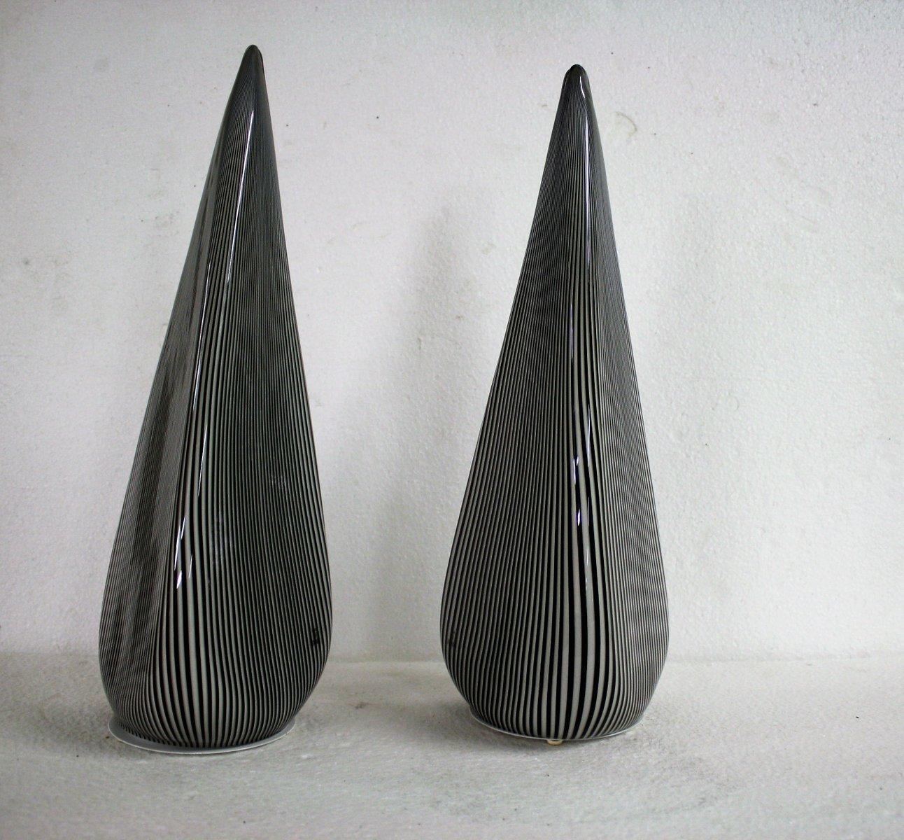 Große Murano Glas Pyramiden Lampen von Vetri, 1970er, 2er Set
