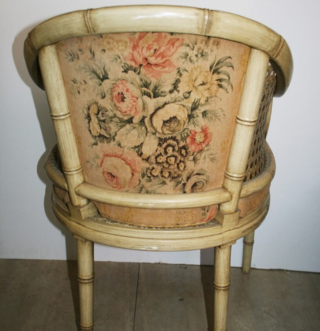 Vintage Cream Lacquered Faux Bamboo Barrel Chair 7. $910.00. Price per piece - Vintage Cream Lacquered Faux Bamboo Barrel Chair For Sale At Pamono
