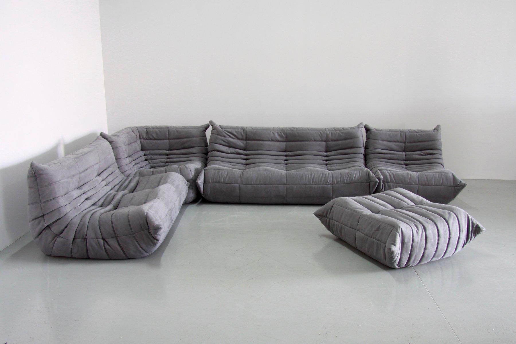 Grey Togo Living Room Set By Michel Ducaroy For Ligne Roset 1979