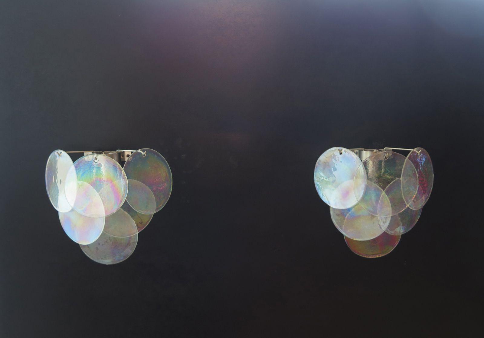Leuchtende Wandleuchte aus Muranoglas, 1980er, 2er Set