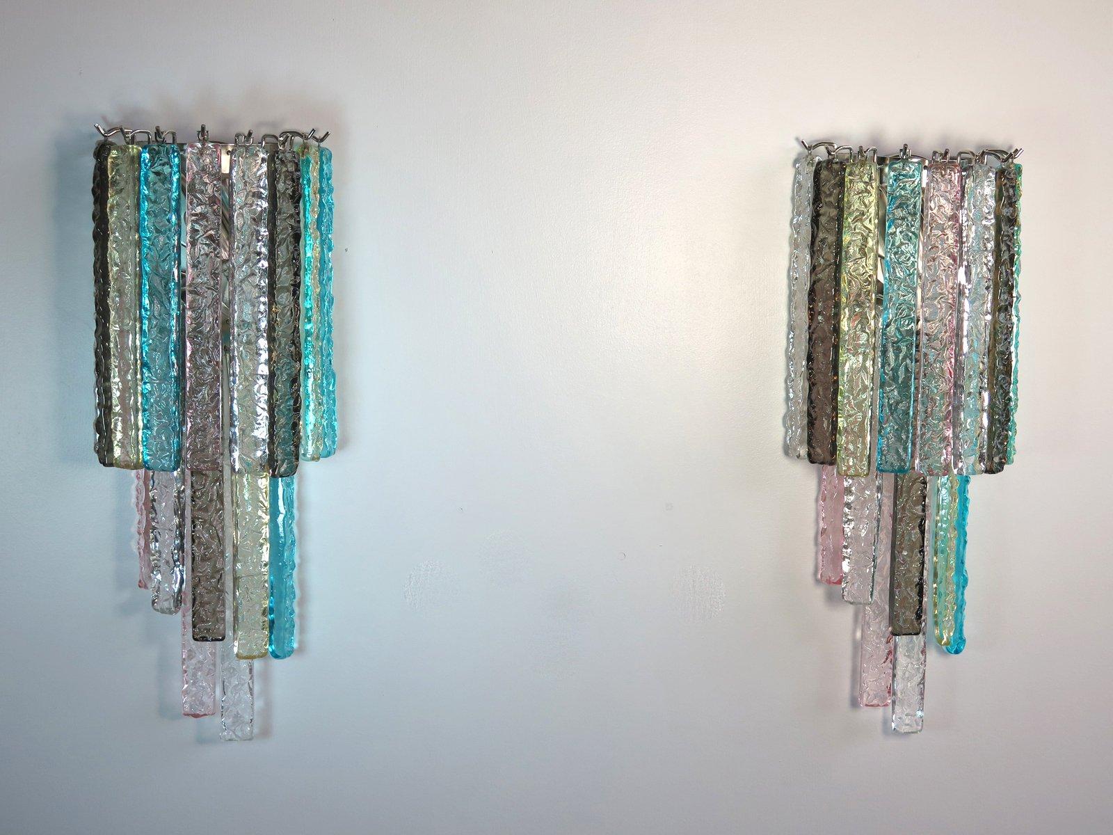 Applique da parete vintage con 16 prismi in vetro di murano
