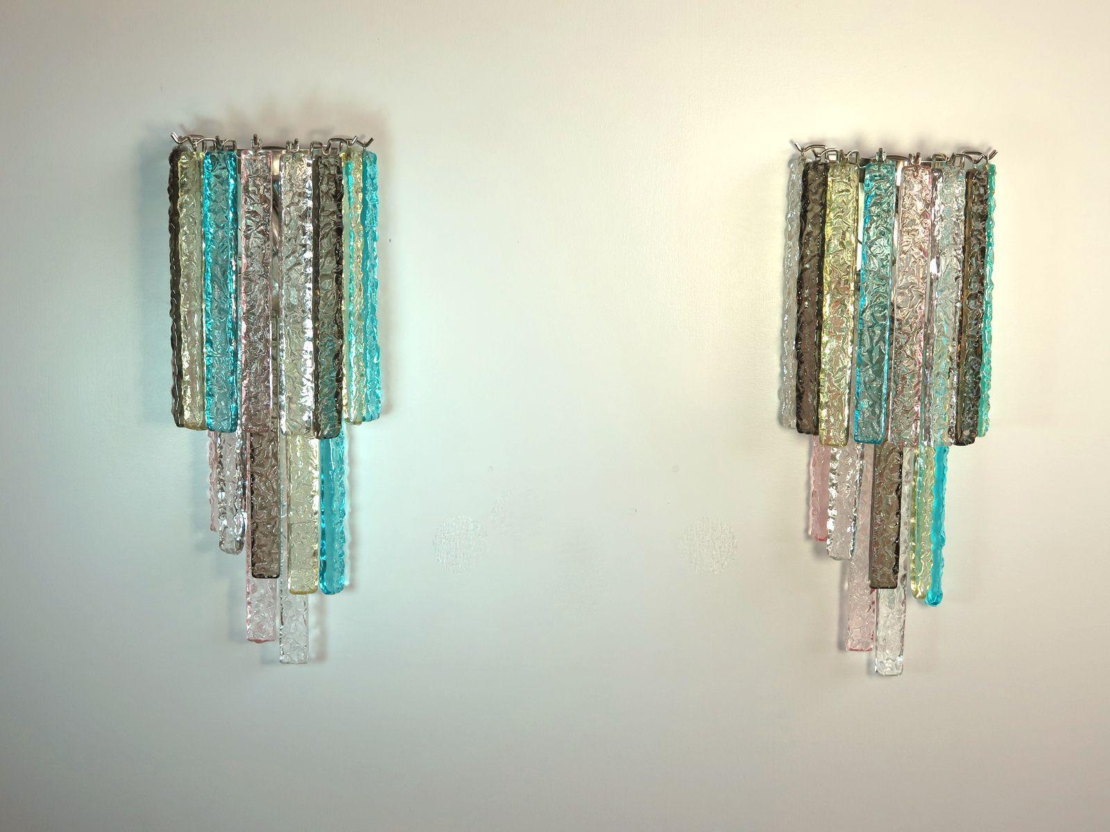 Applique murale vintage 16 prisme multicolore en verre murano de