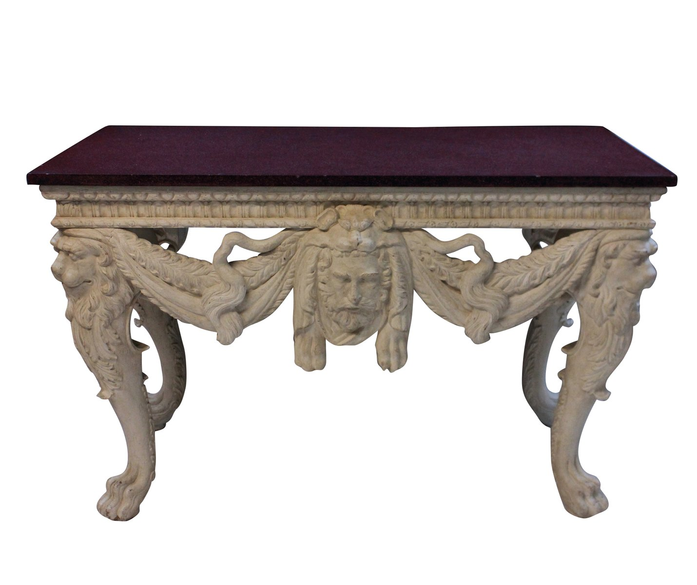 Exceptionnel Large Console Table With Solid Porphyry Top