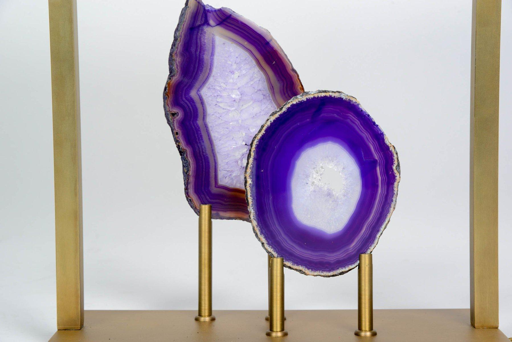Lampada Scrivania Viola : Lampada da tavolo in agata viola ed ottone di glustin luminaires