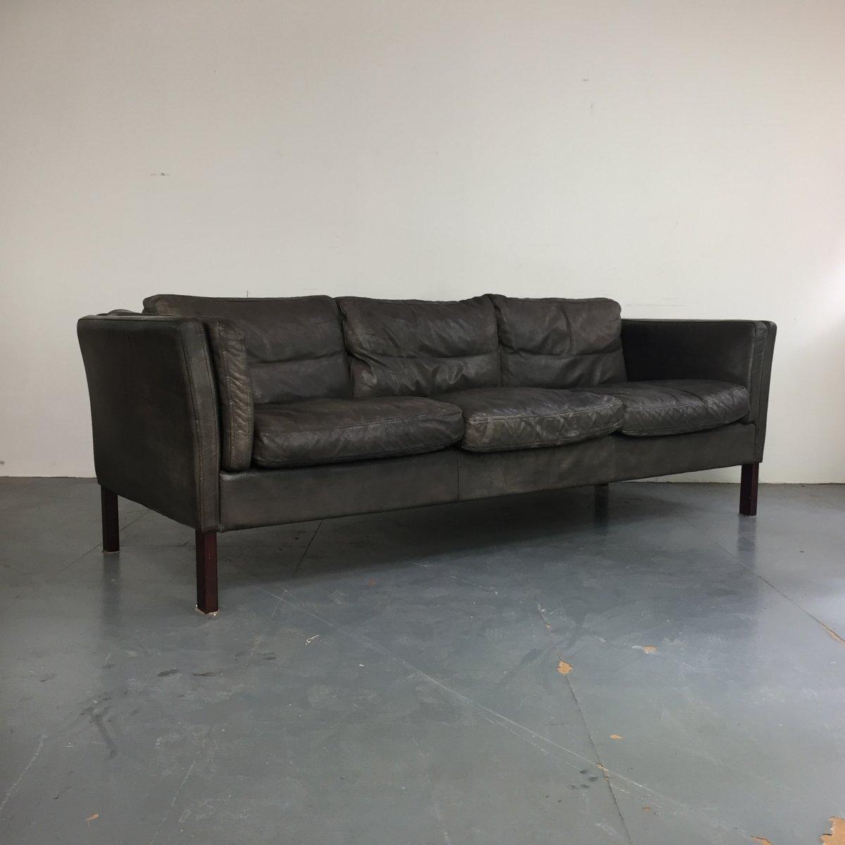 Dunkelgraues 3-Sitzer Sofa aus Leder, 1970er