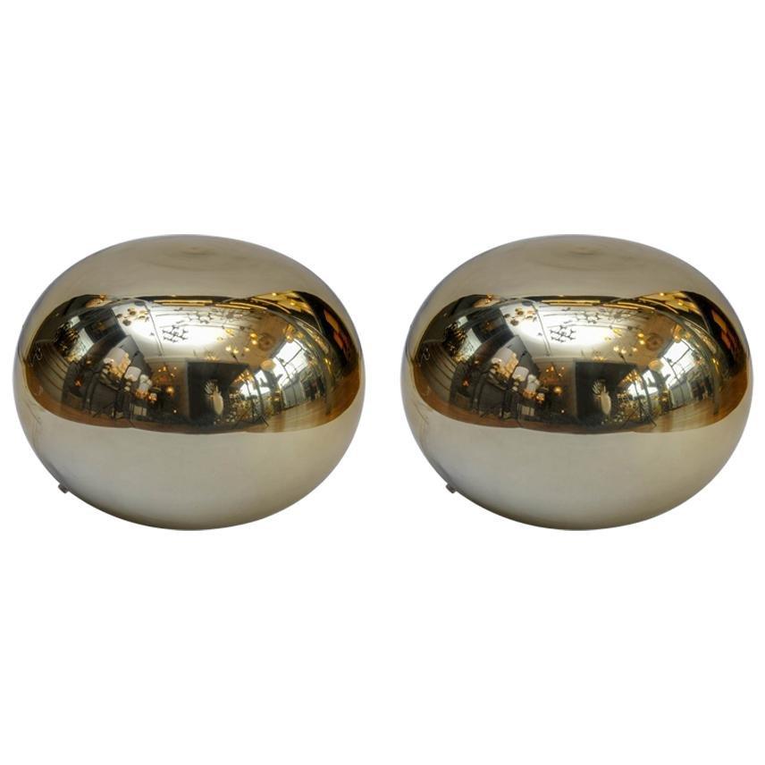 Goldene Glaslampen in Kieselsteinform, 1970er, 2er Set