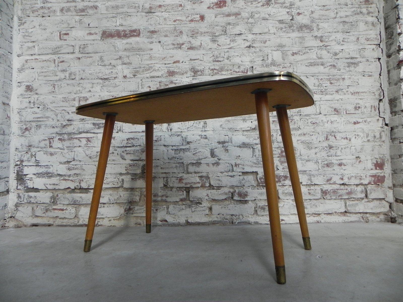 Tavolino da caffè vintage con ripiano in vetro in vendita su pamono