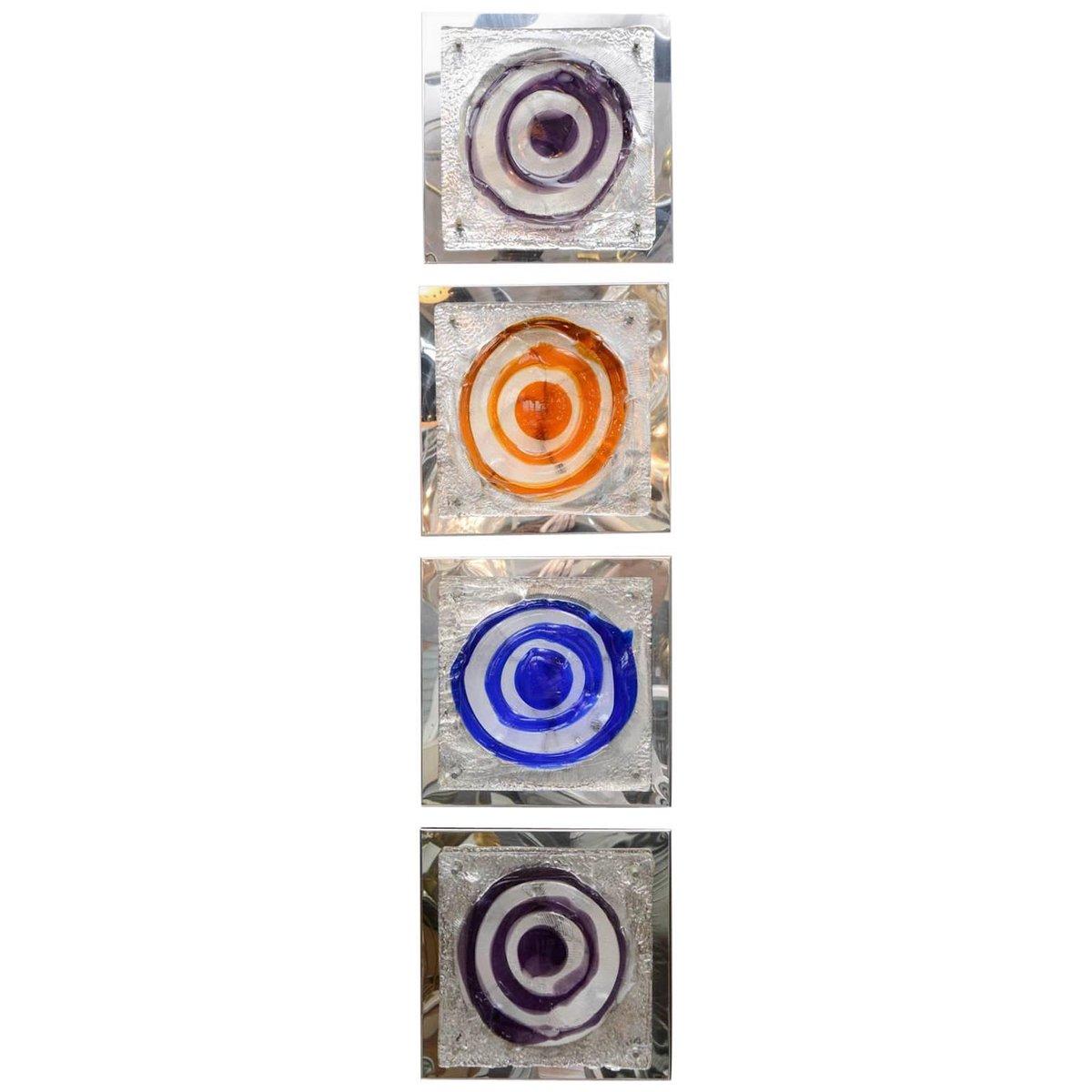 Blaue quadratische Wandleuchte, 1970er