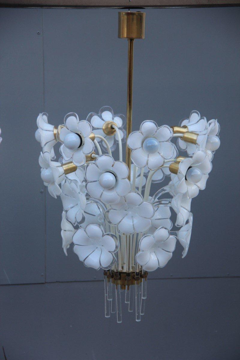 Florale Muranoglas Deckenlampen von Franco Luce, 1970er, 2er Set