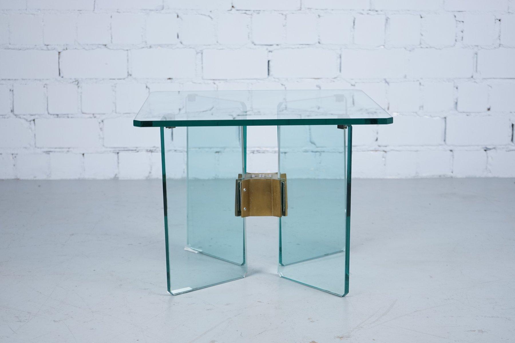 vintage beistelltisch aus glas messing von peter ghyczy 1970er bei pamono kaufen. Black Bedroom Furniture Sets. Home Design Ideas