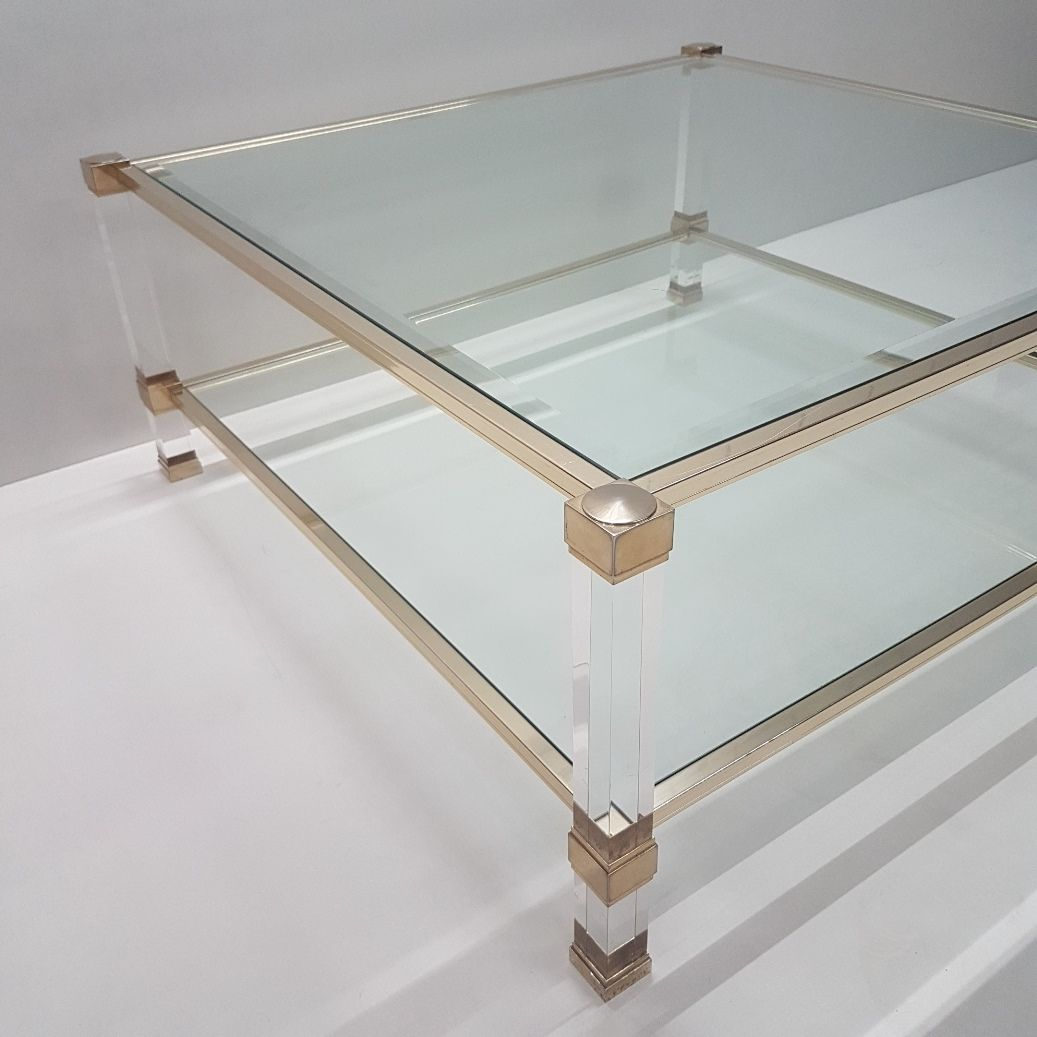 Lucite & Gilt Metal Square Coffee Table by Pierre Vandel, 1970s bei ...