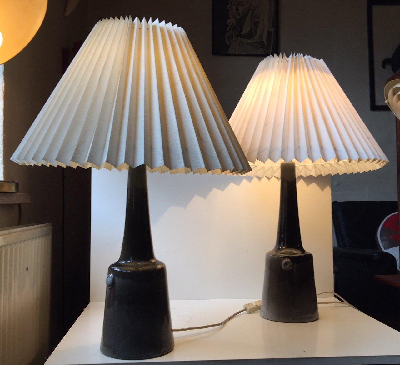 Mid-Century Tischlampen mit Lack von Holbæk, 1960er, 2er Set