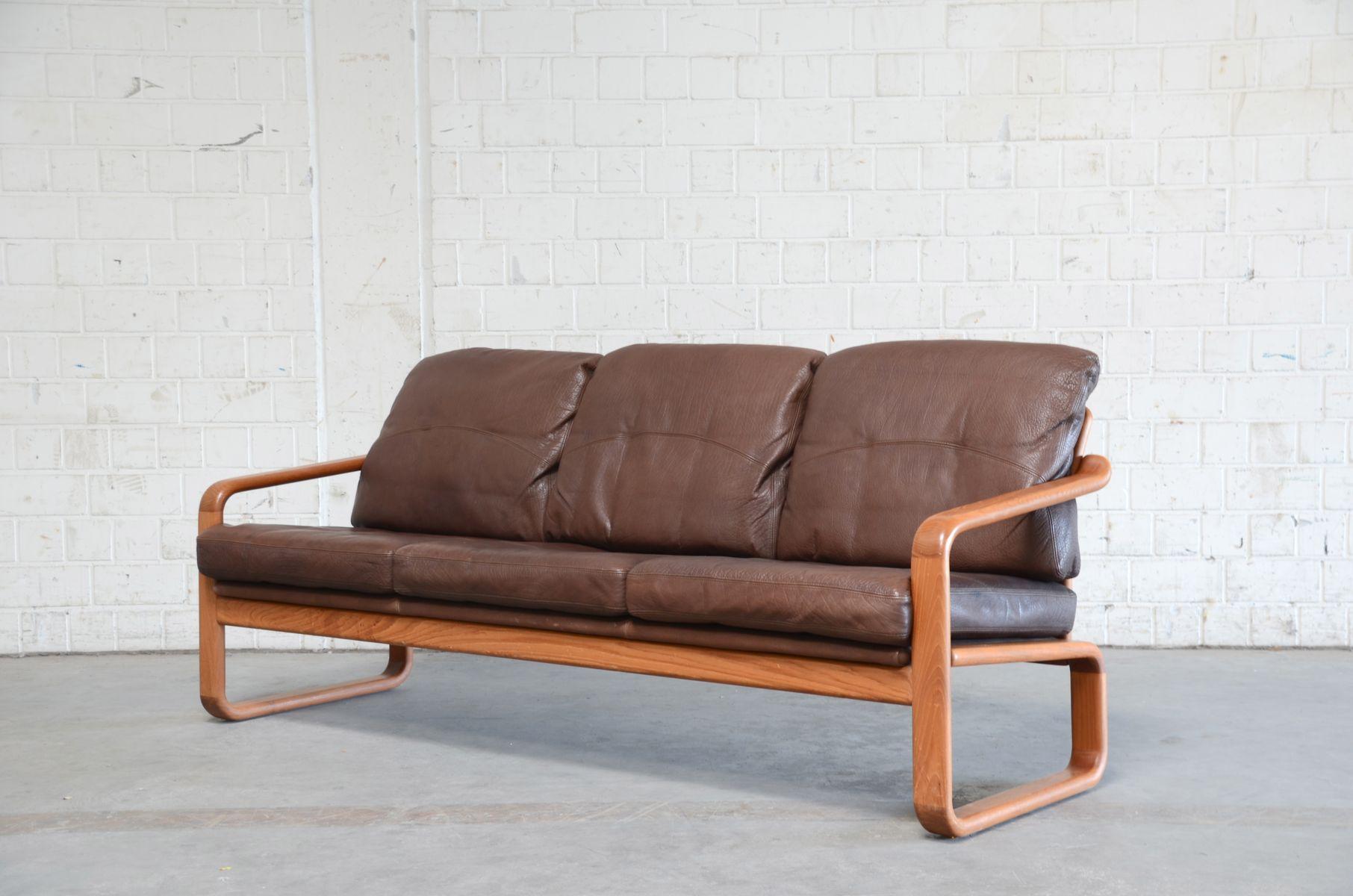 vintage sofa aus braunem leder teak von m belfabrik holstebro bei pamono kaufen. Black Bedroom Furniture Sets. Home Design Ideas