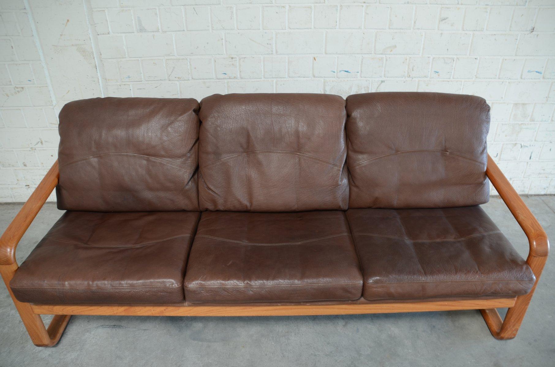 vintage brown leather teak sofa from m belfabrik holstebro for sale at pamono. Black Bedroom Furniture Sets. Home Design Ideas