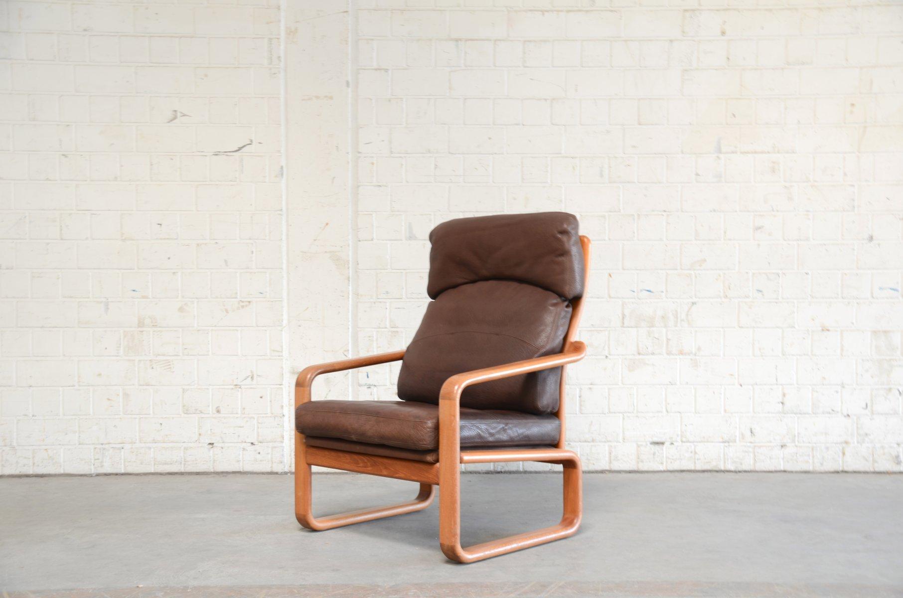 Vintage Sessel aus Teak & Leder von Holstebro