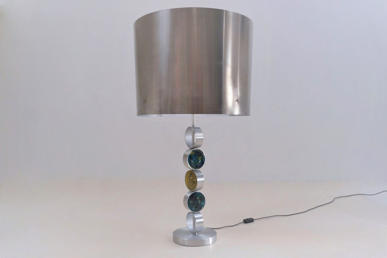 Grandes lampes de bureau en aluminium acier et verre de raak 1972