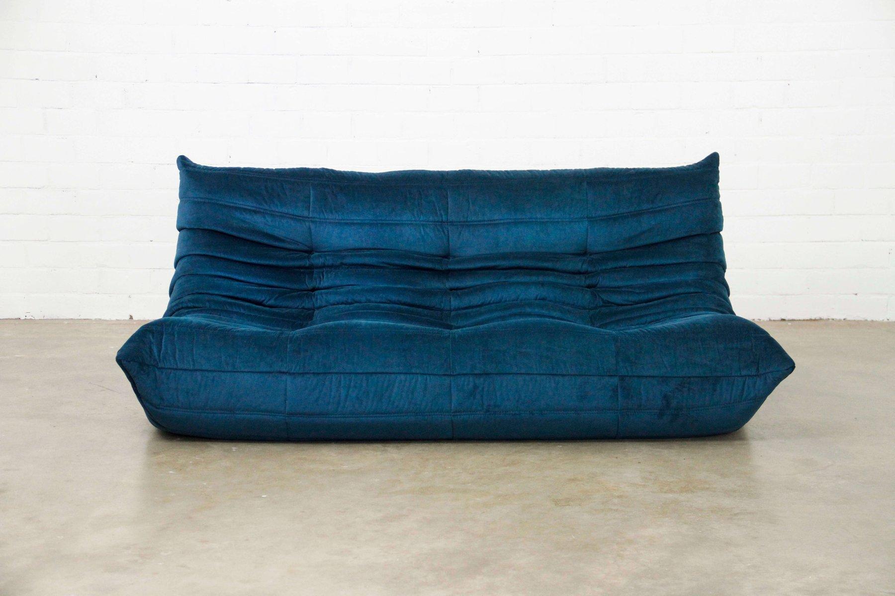 Togo Sofa In Petrol Blue By Michel Ducaroy For Ligne Roset 1970s