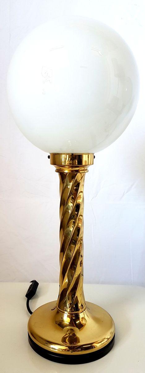 Große deutsche Vintage Tischlampen aus Messing & Opalglas, 2er Set