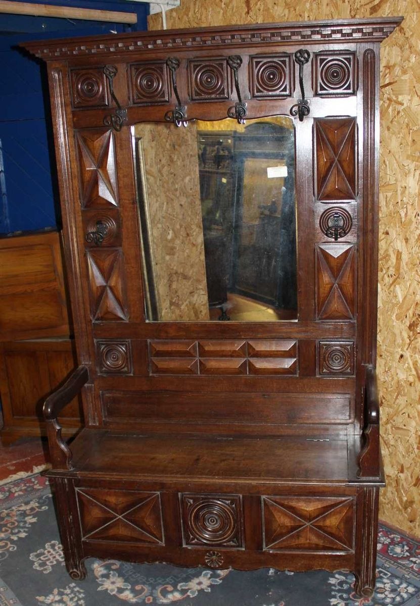 High Breton Hallstand With Storage Bench In Carved Oak 1920s