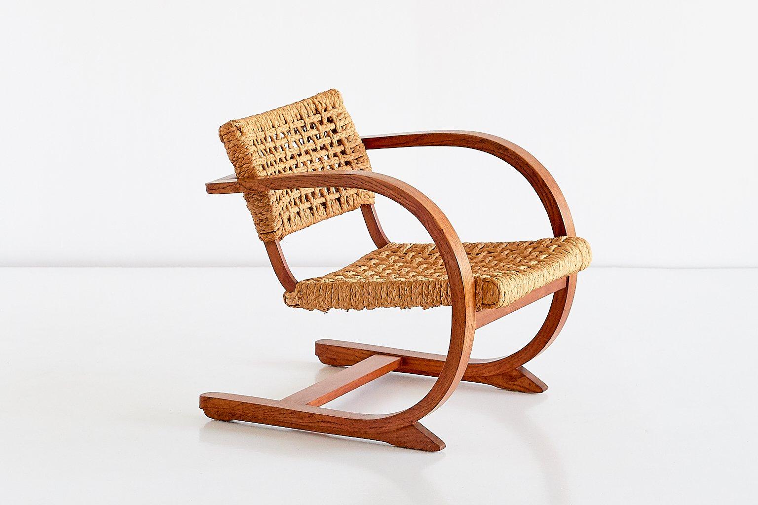 Niederländischer Sessel aus Eiche & Seil von Bas Van Pelt, 1936