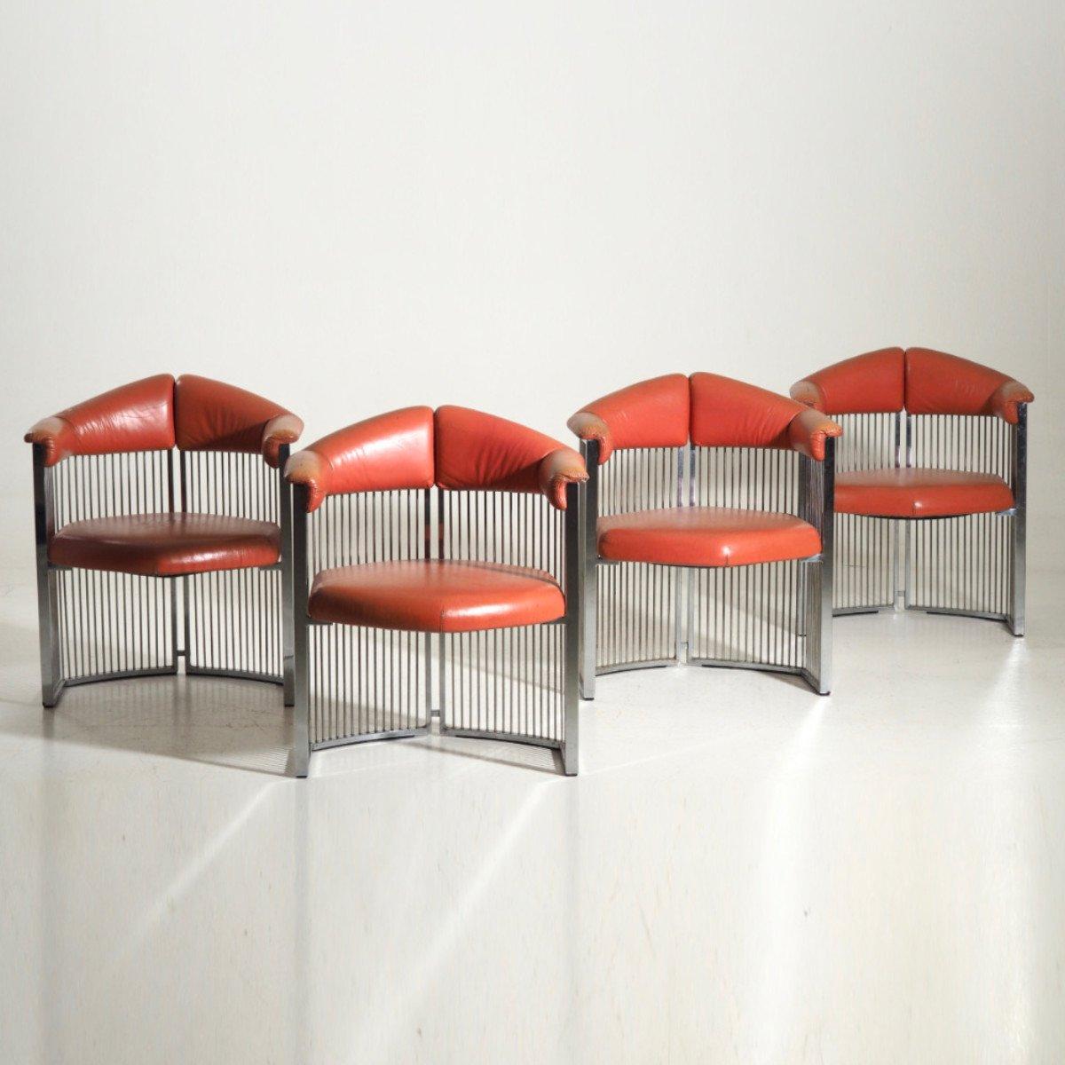 Italienische Sessel Aus Verchromtem Stahl Leder 1960er