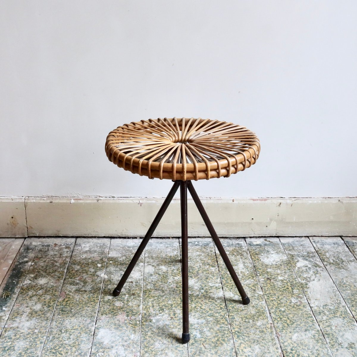 Vintage Rattan Stool By Dirk Van Sliedregt For Roh 233